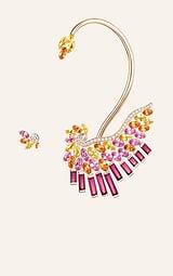 玫瑰金蓝宝石耳环,镶饰碧玺和锰铝石榴石