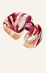 高级珠宝玫瑰金钻石手镯,镶饰1颗枕形切割红碧玺