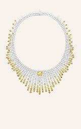 白金项链,镶饰艳彩黄钻
