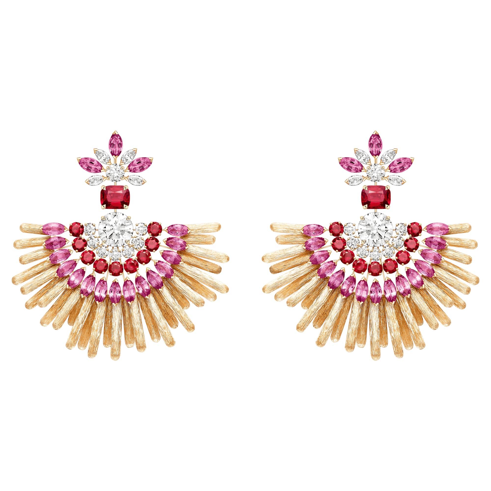 高级珠宝玫瑰金钻石耳环