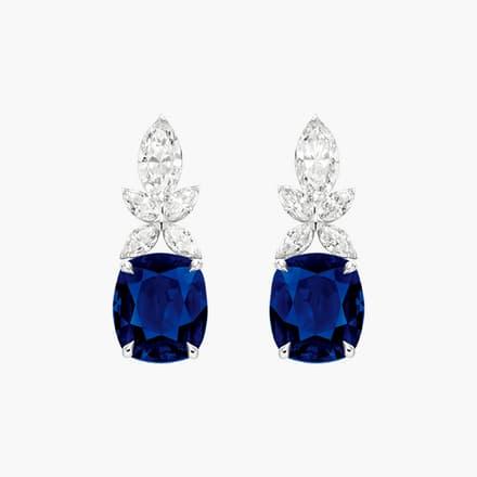 镶饰钻石与蓝宝石的高级珠宝耳环
