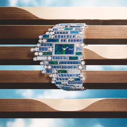 白金钻石蓝宝石腕表,黑色欧泊表盘