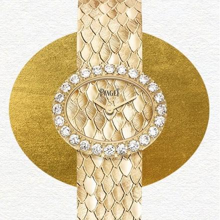 """玫瑰金钻石珠宝腕表,""""鳞纹""""装饰"""
