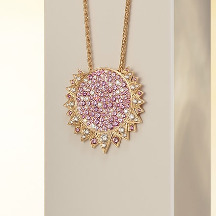 玫瑰金鉆石墜飾,鑲飾粉紅色藍寶石