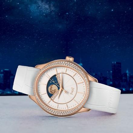 女士金质镶钻月相腕表