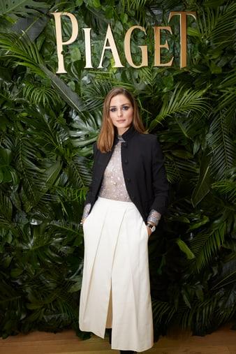 奥利维亚·巴勒莫(Olivia Palermo)佩戴Piaget伯爵Limelight白金钻石腕表现身2019日内瓦国际高级钟表展