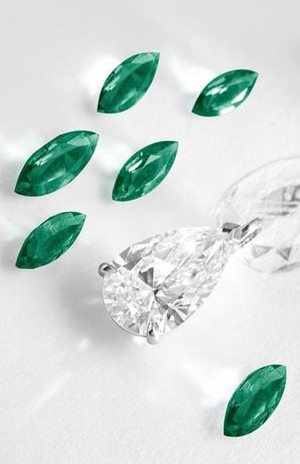 高级珠宝项链,镶饰梨形钻石