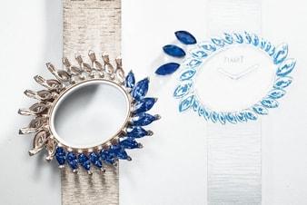 blue waterfall高级珠宝白金腕表