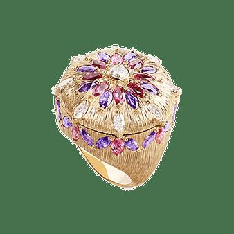 高级红色尖晶石玫瑰金钻石戒指