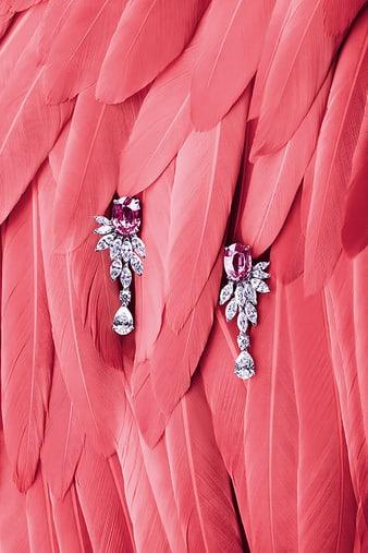 G38M8700 Sunny Side of Life钻石和粉红色蓝宝石耳环