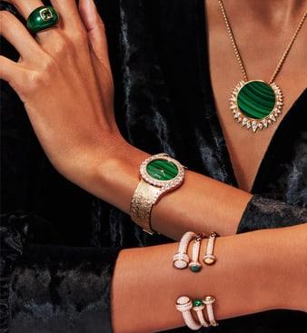 女士高级珠宝和镶钻玫瑰金腕表