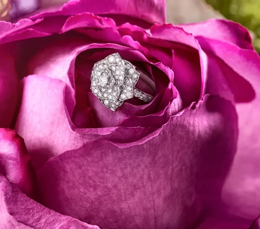 母亲节珠宝礼物:白金钻石戒指